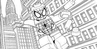 Lego Spiderman Coloring Pages With Hotel Background Free Lego Coloring Pages