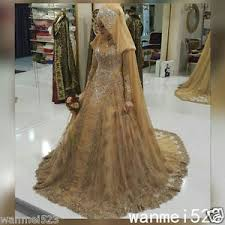 islamic wedding dresses gold lace muslim wedding dress high neck with cloak