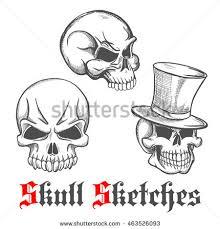 spooky halloween skulls engraving sketches gentleman stock vector