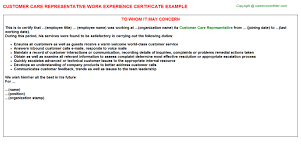 customer care representative work experience certificate