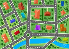 Real Estate Map Map Of Little Town Or Suburb Village For Real Estate Design