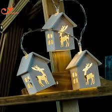 battery powered house lights wooden home decoration deer lights10led wood house indoor lighting
