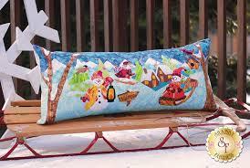 snowman village series pillow kit pre fused laser cut