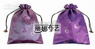 large gift bags drawstring sequin silk fabric packaging pouch