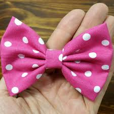 handmade hair hair bow pink with white polka fabric by arlyn s creations on