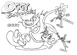 oggy cockroaches coloring pages getcoloringpages
