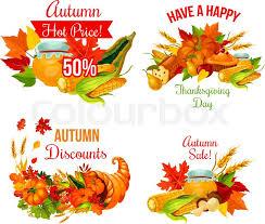 autumn sale symbol set of thanksgiving day fall season