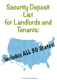 All Fifty States Security Deposit List For Landlords And Tenants Includes All 50