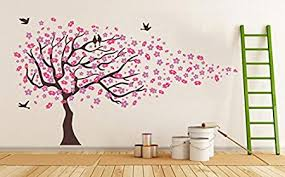 pink cherry blossom tree with birds wall stickers bedroom tree
