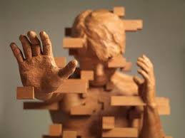 dynamic pixelated wood sculptures are contemporary masterpieces