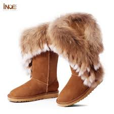 s boots with fur fashion fox fur cow leather high boots for