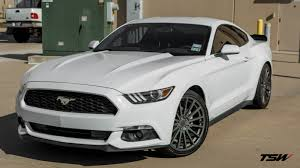 White Mustang Black Wheels Chicane Alloy Wheels By Tsw