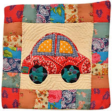 applique in cotto india multicolor printed patchwork cushion cover from
