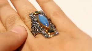 cornflower blue opal ethiopian welo natural opal ring blue sapphire silver gold jewelry
