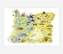 State Map Of Oregon by Forest And Waves State Of Oregon At Buyolympia Com
