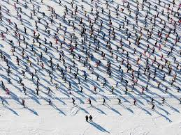an aerial view of the pack in the annual engadin cross country