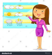 female weather reporter presenting weather forecast stock vector