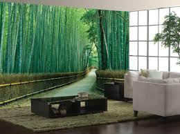 home decor awesome bamboo wall mural in green for living room
