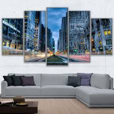 online get cheap street art chicago aliexpress com alibaba group hd printed posters wall art frame canvas pictures 5 pieces chicago busy streets night view paintings