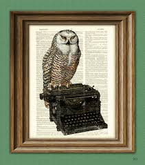 owl item the writer u0027s muse owl on a typewriter print over an