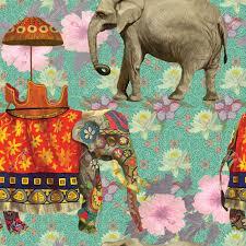 Musterk Hen Nahtloses Muster Mit Indischen Elefanten Hand Gezeichnet Vektor