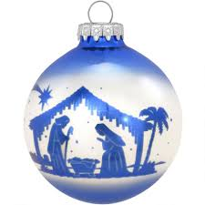 personalized blue silhouette nativity glass ornament