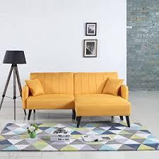 Yellow Sleeper Sofa Mid Century Modern Linen Fabric Futon Sofa Bed Living
