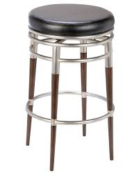 Cream Leather Bar Stools Black Polished Iron Frame Barstool With Rounded Brown Leather