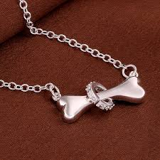 dog necklace silver images Dog bone pendant necklace dog jewelry store jpg