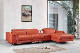 Orange Leather Sectional Sofa Divani Casa 1518 Modern Orange Leather Sectional Sofa W Recliner