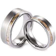 deer antler wedding band ring shell bone meteorite antler tungsten carbide ring scratch