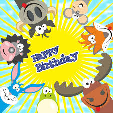 cute happy birthday card with funny animals elk cow hedgehog