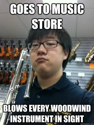 Meme Store - goes to music store blows every woodwind instrument in sight dan