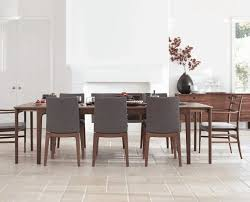 Metal Leg Dining Chairs Dark Wood Sideboard Plain White Doors Thin Dining Table Grey
