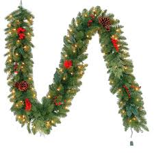 pre lit battery operated garland 6 foot artificial led