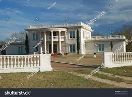 Plantation Style House Massive White Brick Cement Plantation Style Stock Photo 10920910