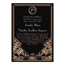 black and gold wedding invitations black gold deco gatsby style wedding invites zazzle