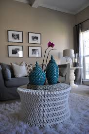 Grey Living Room With Yellow Accent Wall Room By Jws Interiors White Rug Neutral Family Room Oly Studio