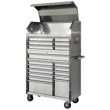 tool chest and cabinet set husky 40 in 18 drawer stainless steel tool chest and rolling tool