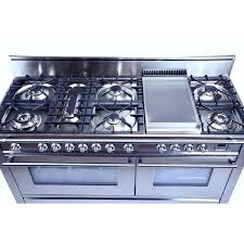 Italian Cooktop Hallman 60 In 7 Burner With Griddle Italian Dual Fuel Convection