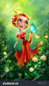 cute catgirl butterflies illustration fairy tale stock