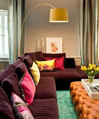 impressive colorful living room design with l shape purple bed impressive colorful living room design with l shape purple bed sofa and drum shape yellow standing lamp ideas