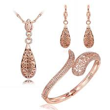 gold earrings for wedding fashion jewelry set 18k gold necklace bangles earrings