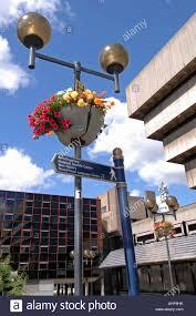 birmingham city centre pedestrian signpost and floral walkway