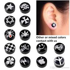 magnetic stud earrings 2018 black drip pattern ear stud earrings for women men white