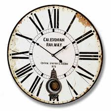 Wooden Wall Clock Large Glasgow Station Railway Wooden Wall Clock Distressed