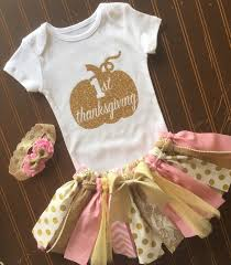 thanksgiving infant headbands pink and gold tutu set gold onsie fall baby 1st