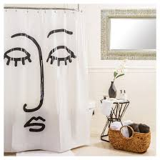 White On White Shower Curtain Face Shower Curtain Black White Room Essentials Target