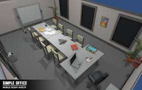 3d model simple office interiors cartoon assets vr ar low
