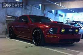 Mustang Gt Black Rims Wheel Offset 2007 Ford Mustang Slightly Aggressive Dropped 1 3